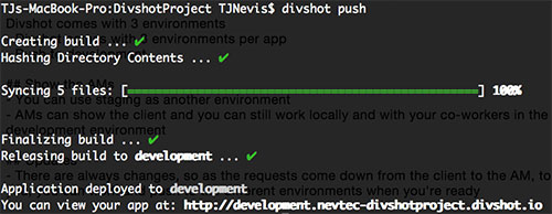 Push Your Divshot App to the Development Environment